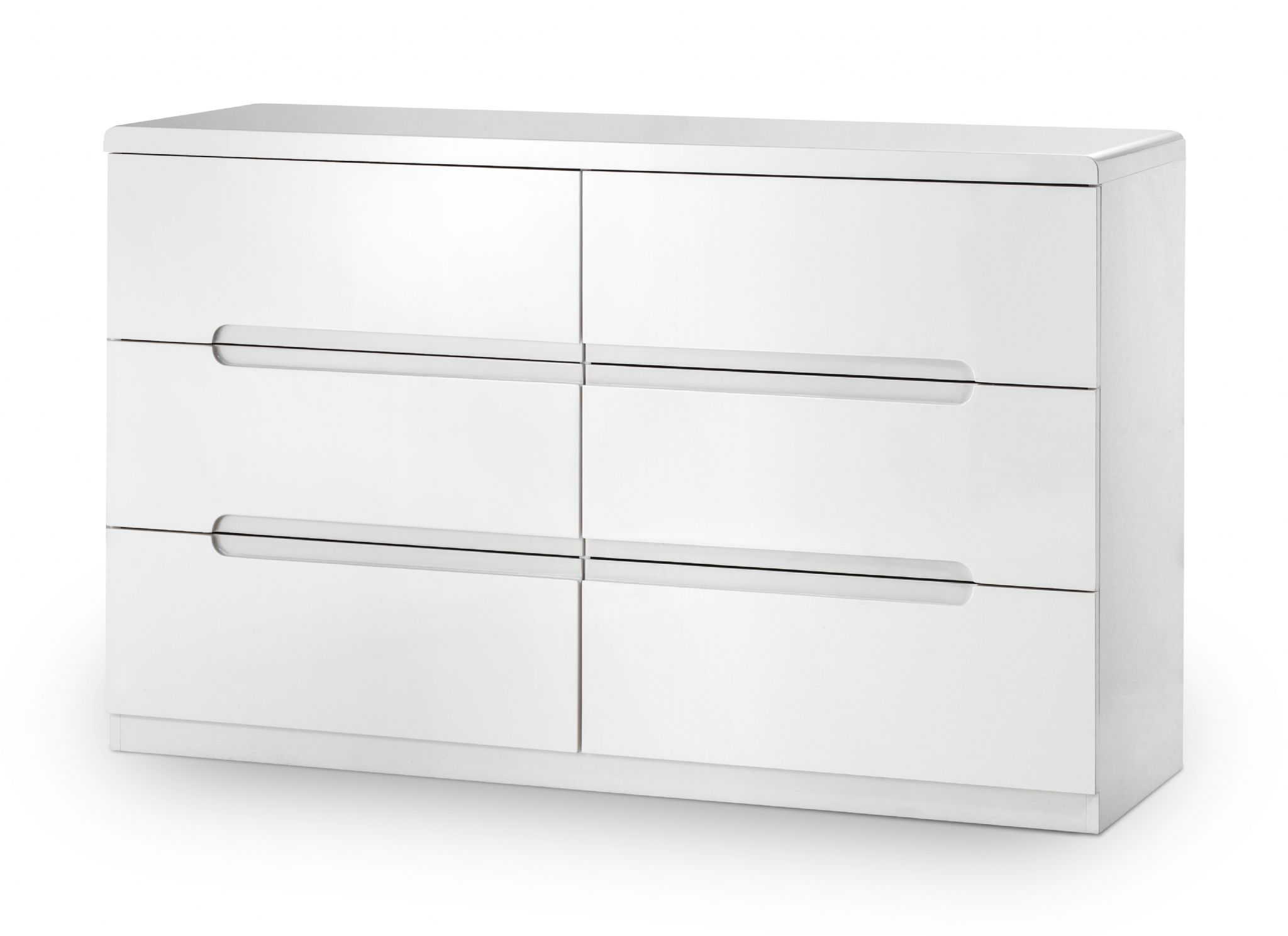 White Gloss Drawers Alzira White High Gloss Lacquer 6 Drawer Wide Chest Jb312