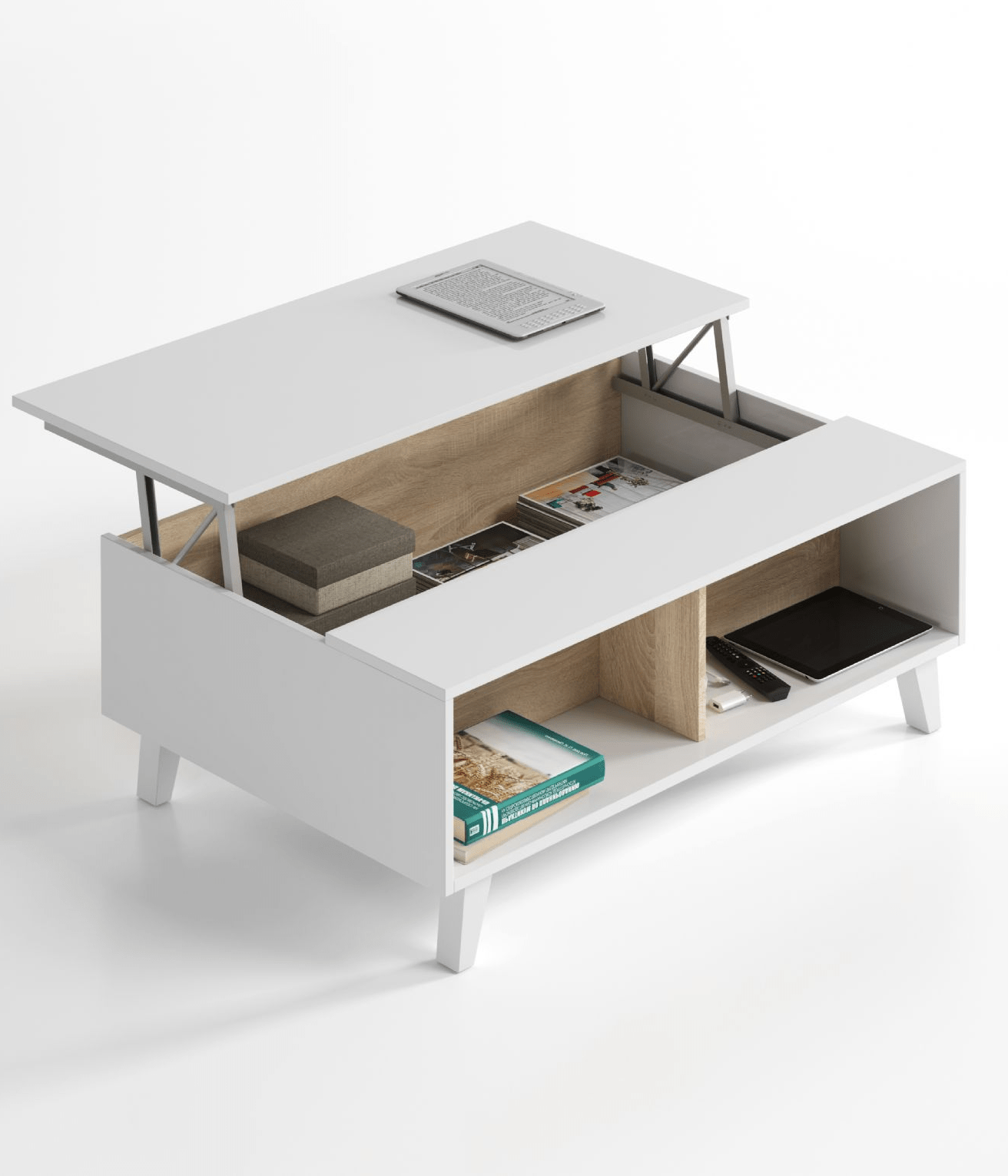 Soft Coffee Table With Storage Bari Storage Coffee Table Soft White Gloss With Oak Effect
