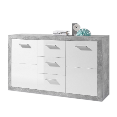 Greystone Grey And White Gloss Large Sideboard With - Poco Sideboard