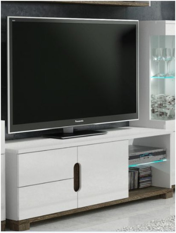 Wooden Shelving Units White Gloss Tv Display Unit With Lights – Tv Cabinets