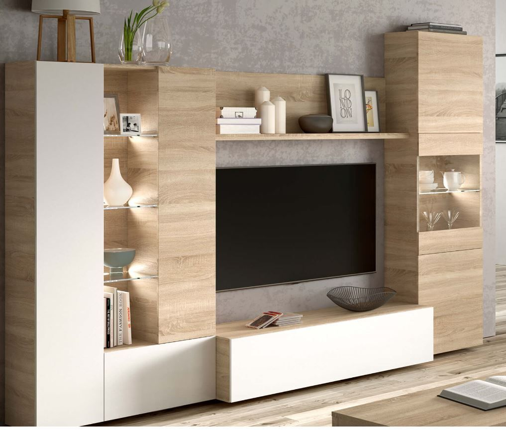 Large Wall Units For Living Room Large White Tv And Media Unit Furniture Factor Uk