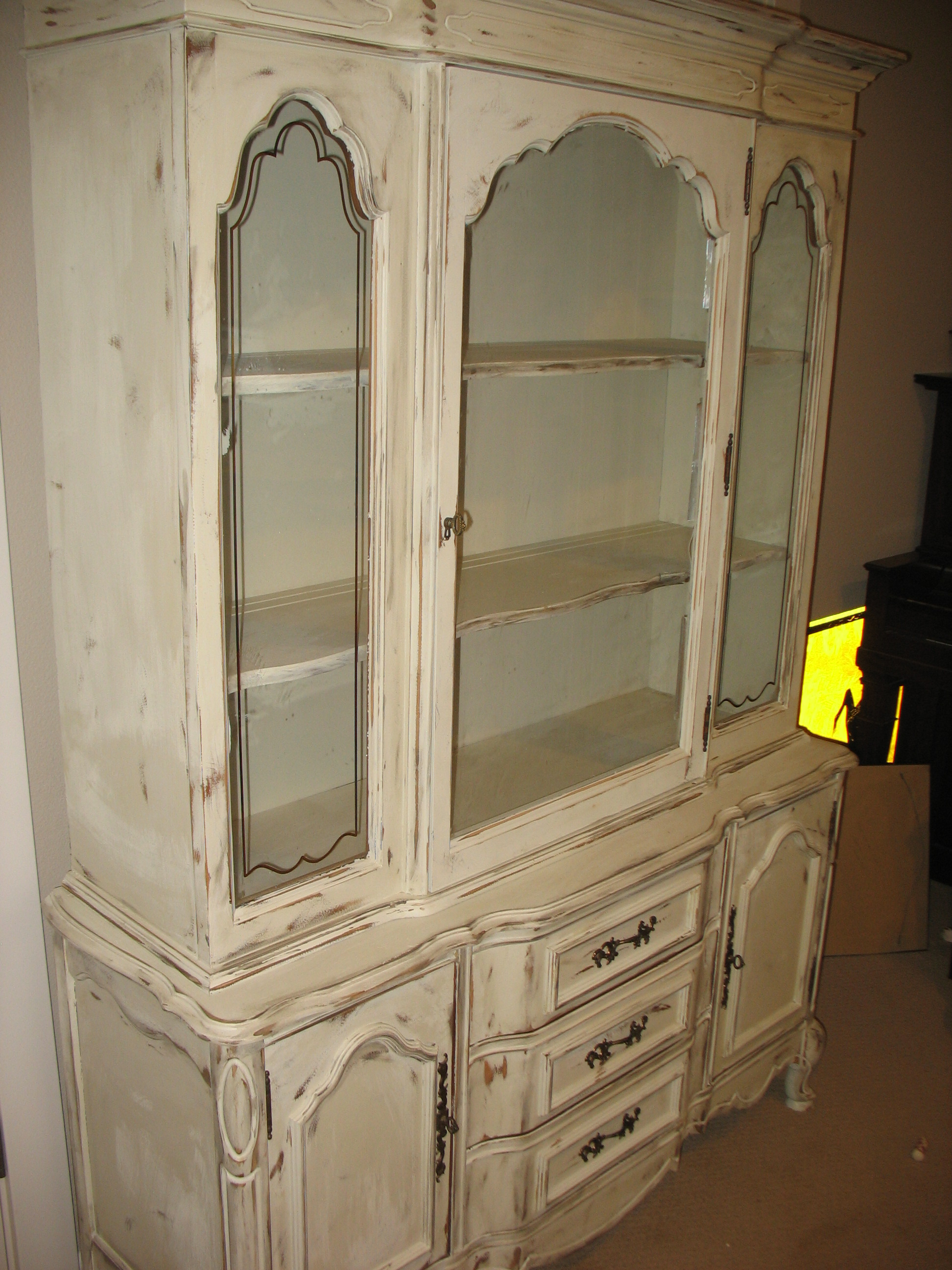 Custom Antique White Kitchen Cabinets Shabby Chic China Cabinet | Ladybird's Vintage