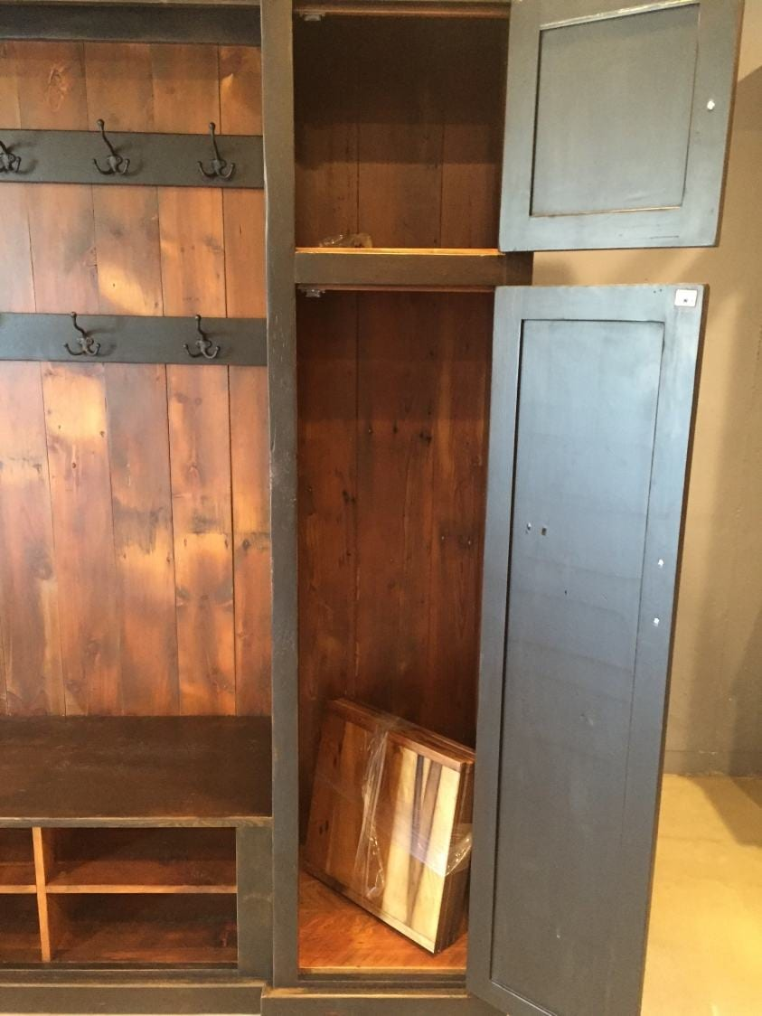 Kitchen Stools For Islands Hall Tree With Side Storage Cabinet And Double Row Of Coat