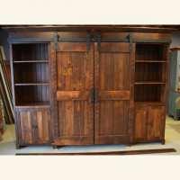 Rustic (Low Profile) Barn Door Entertainment Cabinet ...