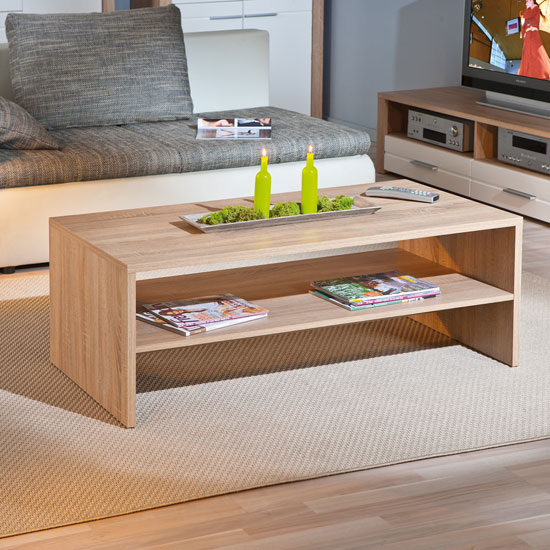 Couchtisch Sonoma Utopia Wooden Coffee Table In Sonoma Oak With Undershelf