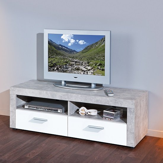 Lowboard Betonoptik Croagh Tv Stand In Light Grey With 2 Drawers In White