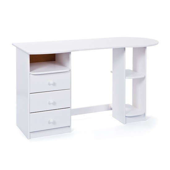 Camif Bureau Newry Wooden Computer Desk In White With 3 Drawers