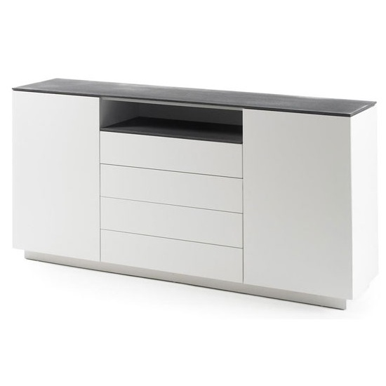 Denzel Sideboard In White Matt And Grey Glass Top And 4 - Sideboard Glasplatte