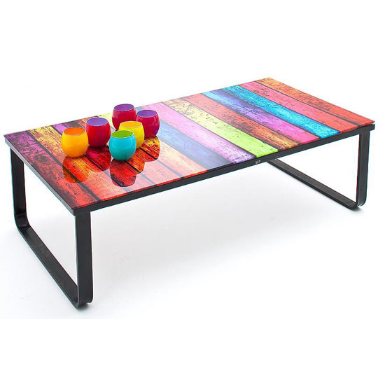Couchtisch Fashion For Home Rainbow Glass Coffee Table With Black Metal Frame 24311