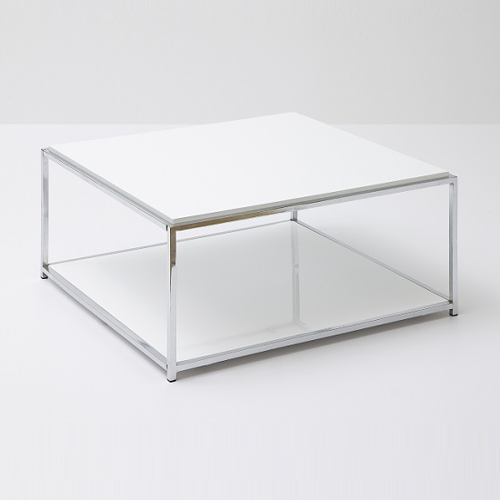 Couchtisch Chrome Isabel Coffee Table In White Gloss With Chrome And