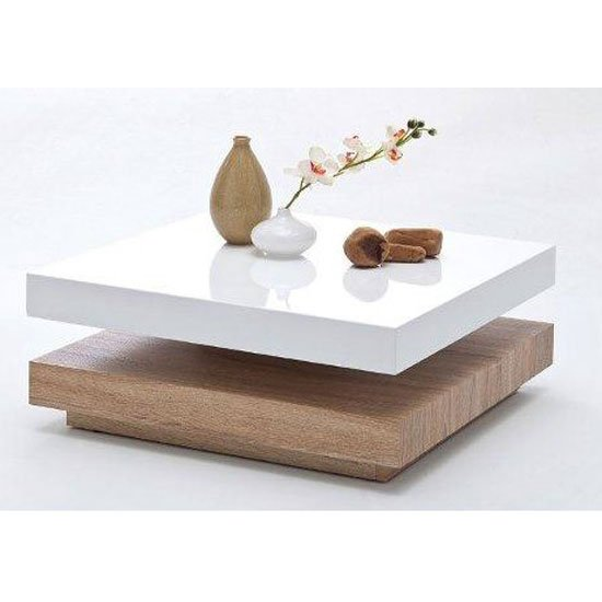 Couchtisch Fashion For Home Hugo Square Coffee Table High Gloss White And Oak Base