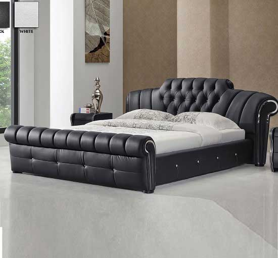 Fashion For Home Bett Veronica Chesterfield Style King Bed In Black Bonded