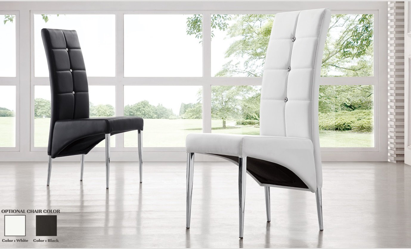 Eettafel Stoelen Zwart Wit Vesta Studded Faux Leather Dining Room Chair In White 21163