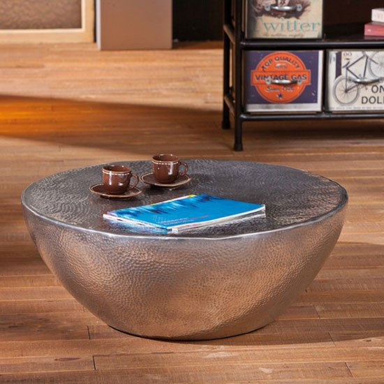 Fashion For Home Couchtisch Pelas Metal Coffee Table With Aluminium Hammered Effect