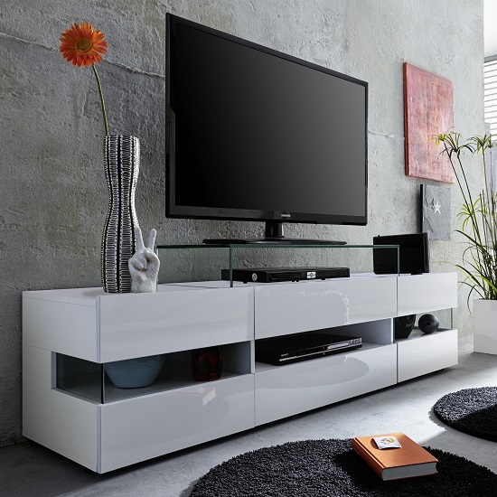 Meuble Tv 250 Cm Kirsten Tv Stand In White With Gloss Fronts And Led 27541