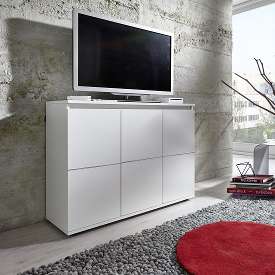 Tv Sideboard Modern Alexis Modern Tv Sideboard In White With Led Lights 28678
