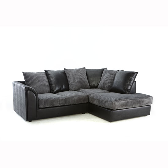 Ecksofa Grau Stoff Angelic Corner Sofa In Black Faux Leather And Grey Fabric