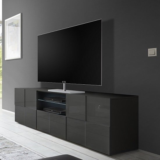Tv Sideboard Modern Aspen Modern Tv Sideboard In Grey High Gloss With Led ...