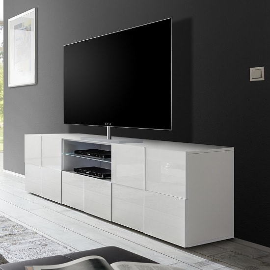 Tv Sideboard Aspen Modern Tv Sideboard In White High Gloss With 2 Doors