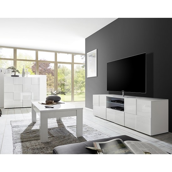 Tv Sideboard Modern Aspen Modern Tv Sideboard In White High Gloss With 2 Doors ...