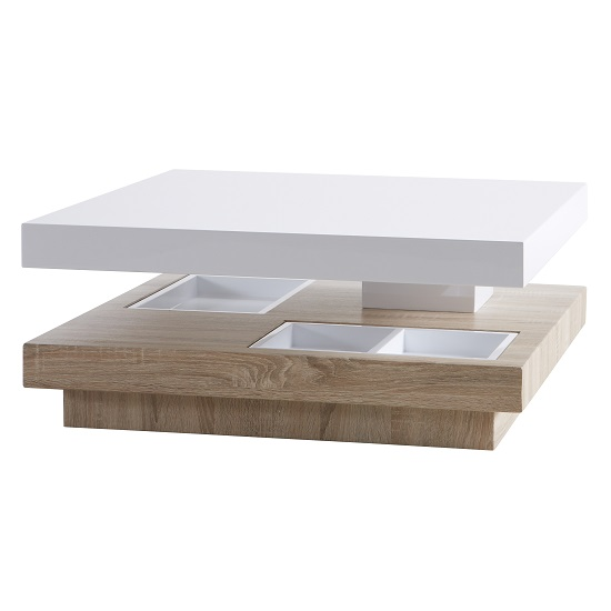 Fashion For Home Couchtisch Regent Rotating Coffee Table Square In White High Gloss
