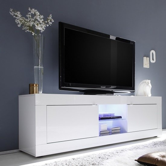 Lowboard 300 Cm Taylor Tv Stand Large In White High Gloss With 2 Doors And