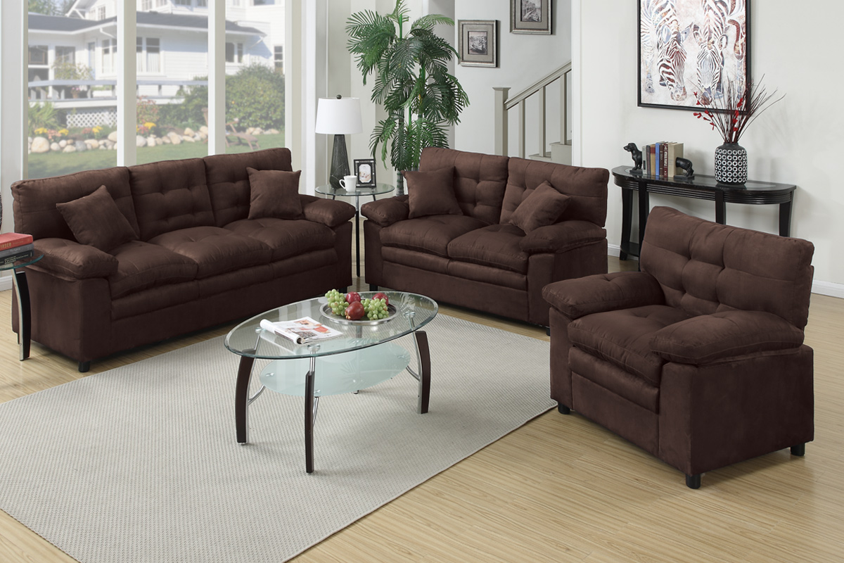 Los Sofas 3 Pcs Sofa Set F7908 Color Chocolate