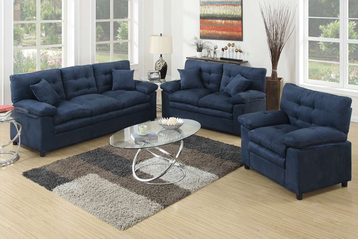Los Sofas 3 Pcs Sofa Set F7909 Color Blue