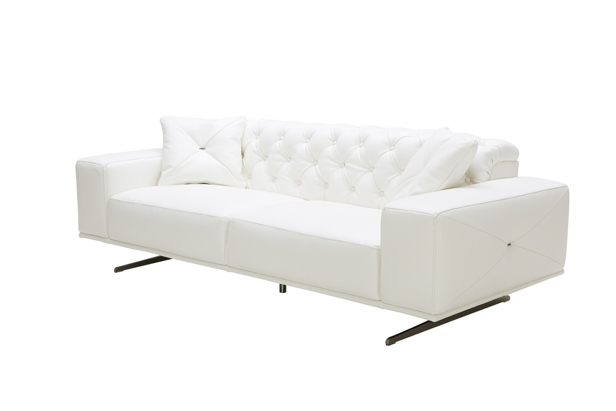 White Leather Couch Vig Divani Casa Bartlett White Leather Sofa