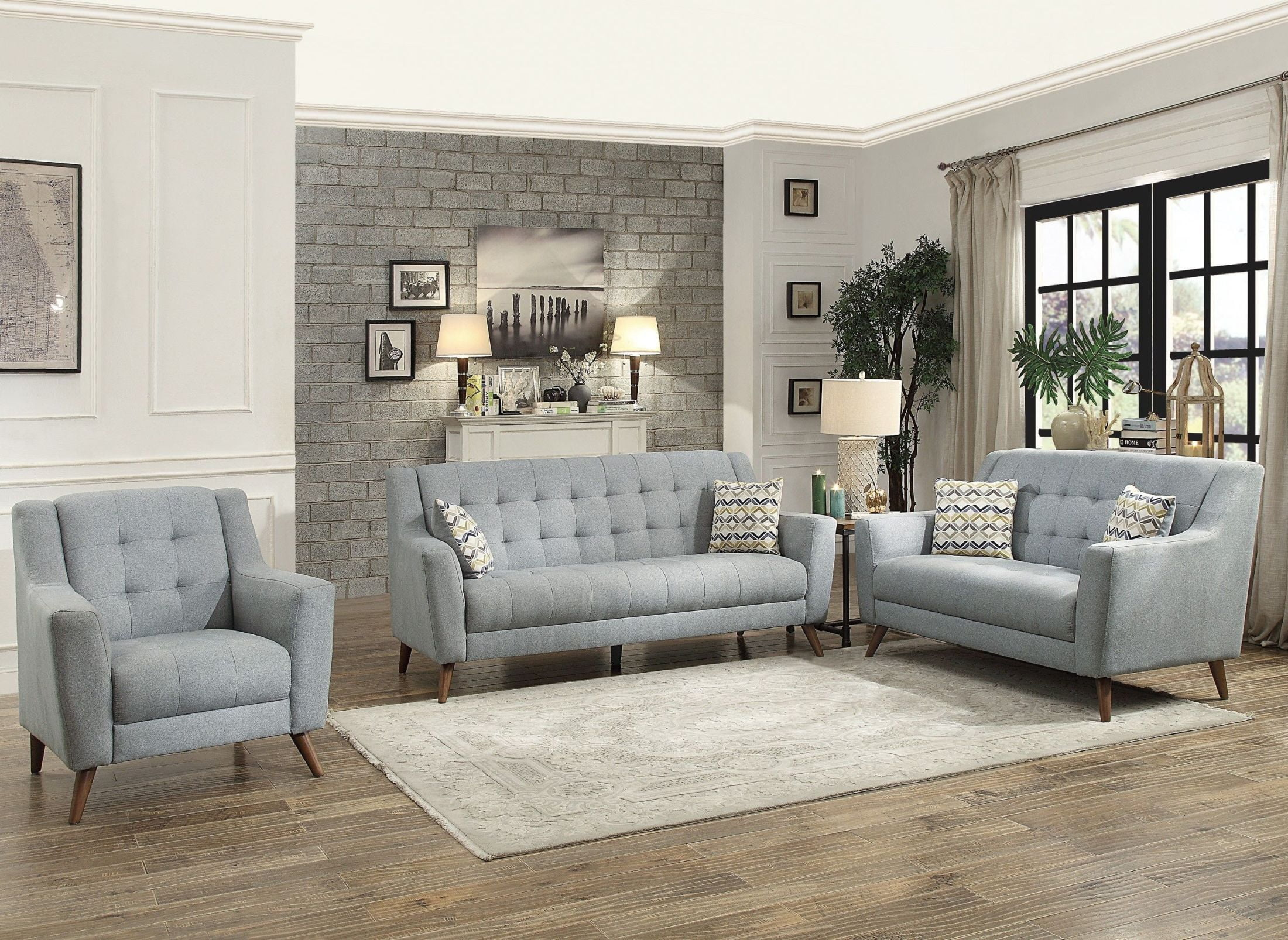 Living Room With Grey Sofa Homelegance Basenji 2pc Grey Sofa Loveseat Set