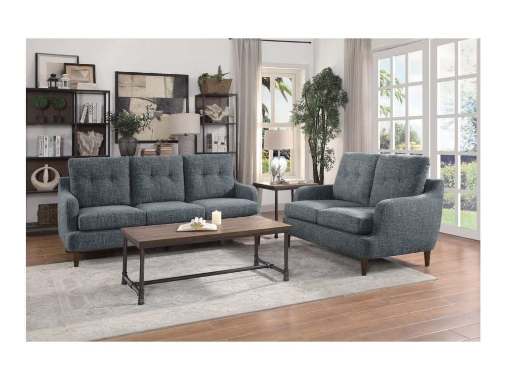 Living Room With Grey Sofa Homelegance Cagle 2pc Grey Sofa Loveseat Set