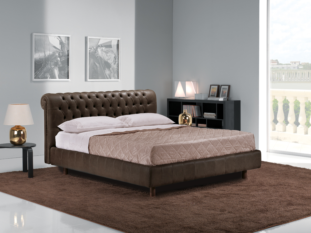 Leather Bed Frame Vig Estro Salotti Davemport Brown Leather Bed