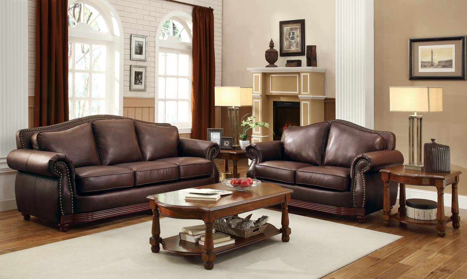 Brown Sofa And Loveseat Sets Homelegance Midwood 2pc Brown Sofa Loveseat Set