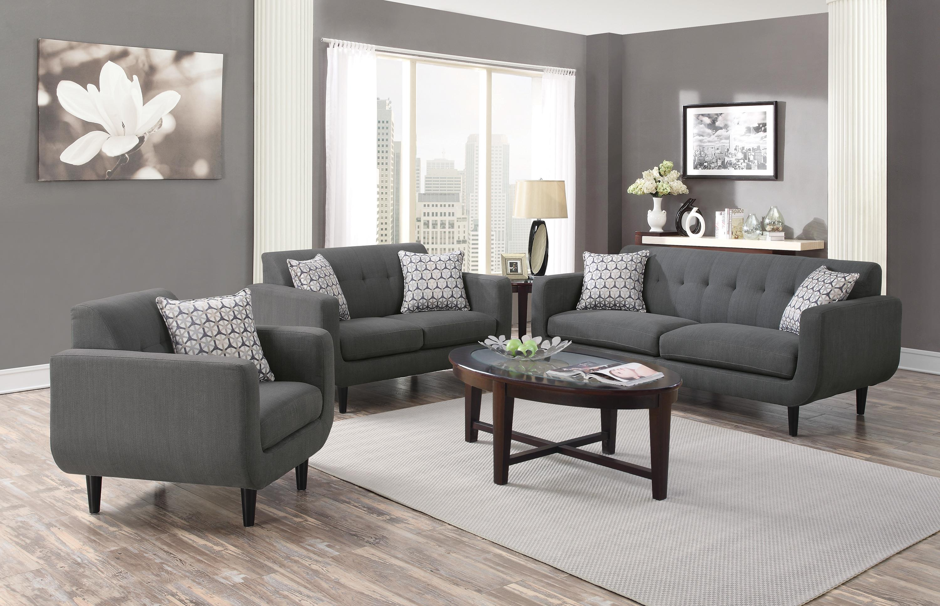 Sala Set Gray Coaster Stansall 2pc Grey Sofa And Loveseat Set Dallas Tx