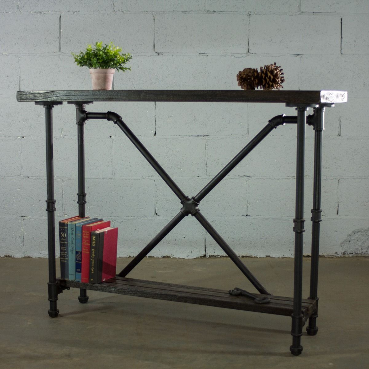 Houston Industrial Vintage 2 Tier Pipe Console Sofa Hall Table Metal And Reclaimed Aged Wood Finish