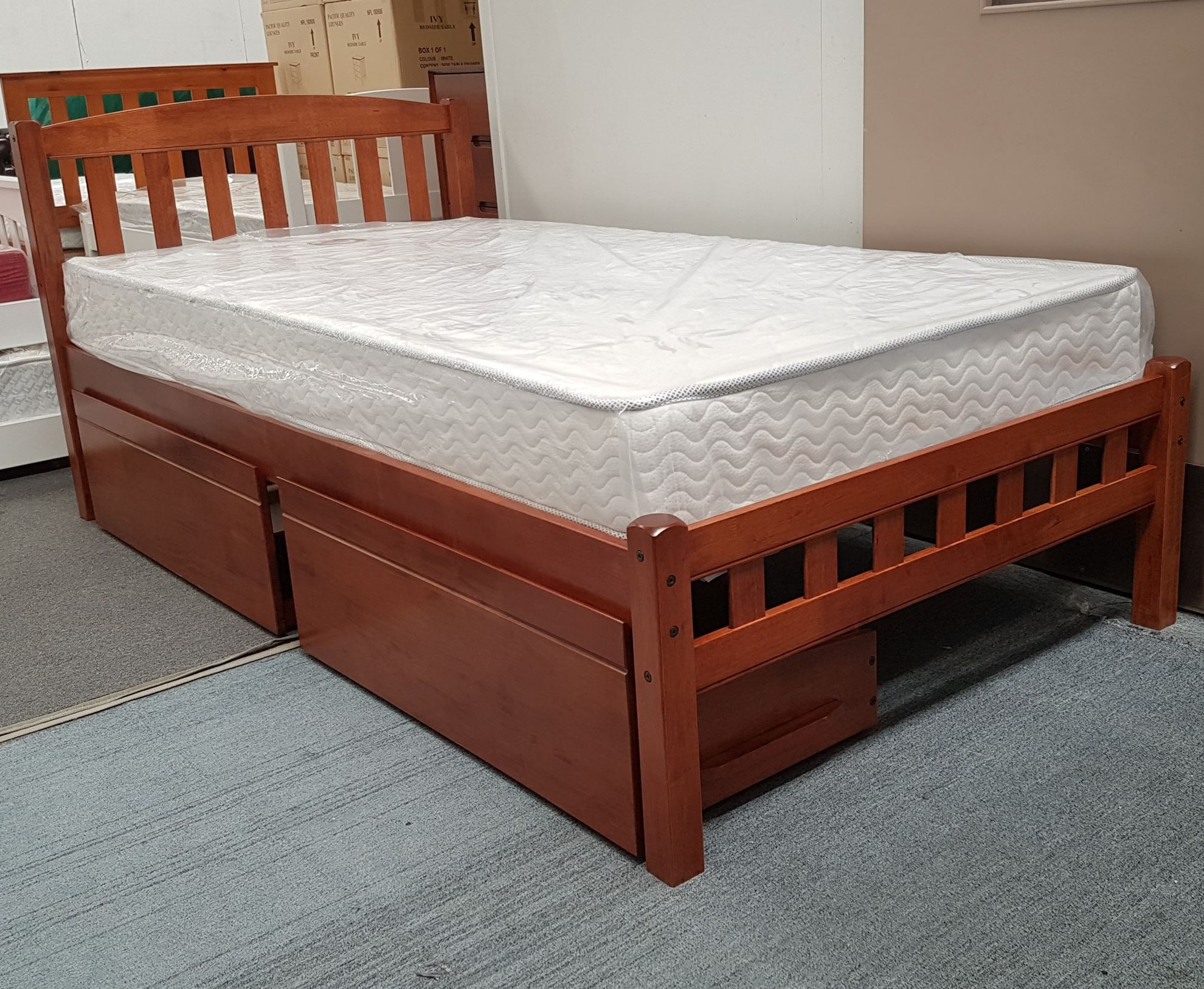 Furniture Place Miki King Single Bed With Drawers Mattress Solid - Single Bed Price