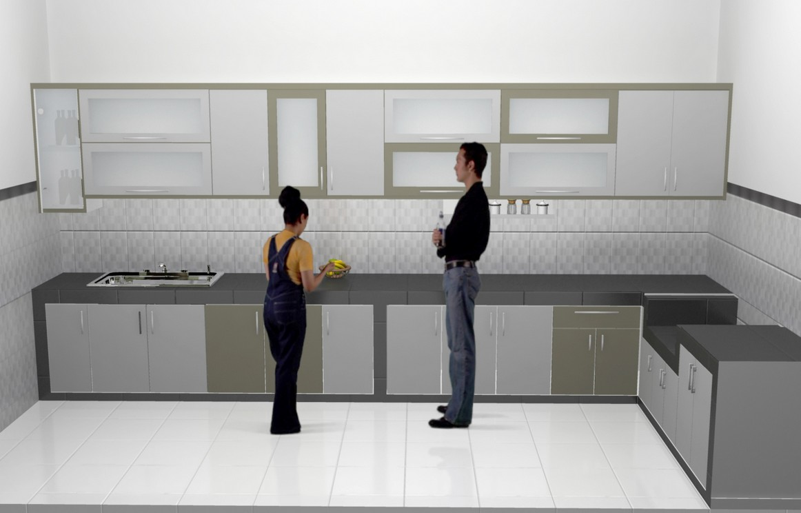 Lemari Dapur Kitchen Cabinet Kitchen Set Minimalis Pintu Kaca Engsel Hidrolis – Kitchen