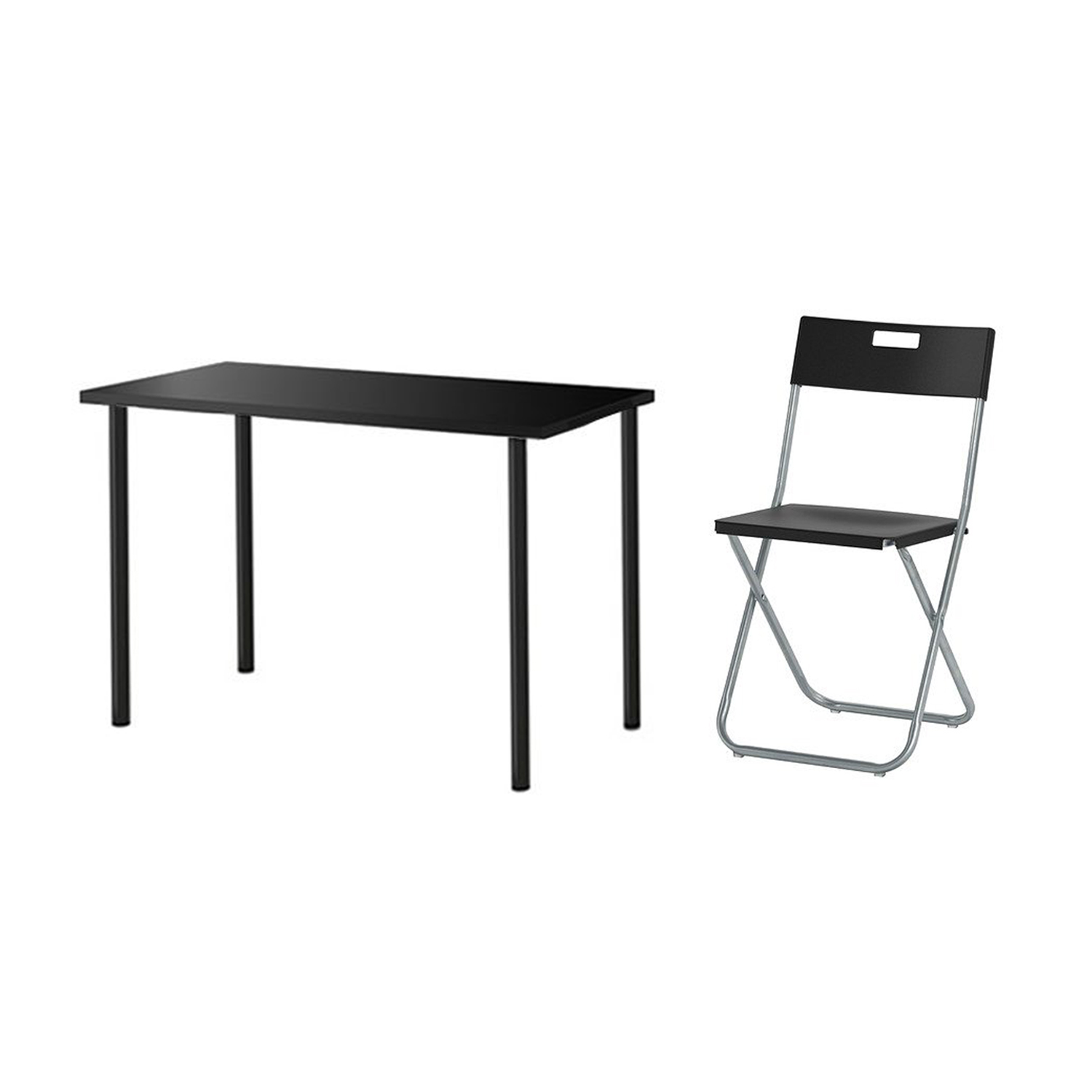 Linnmon Linnmon Adils Desk 100cm Black With Gunde Folding Chair Black