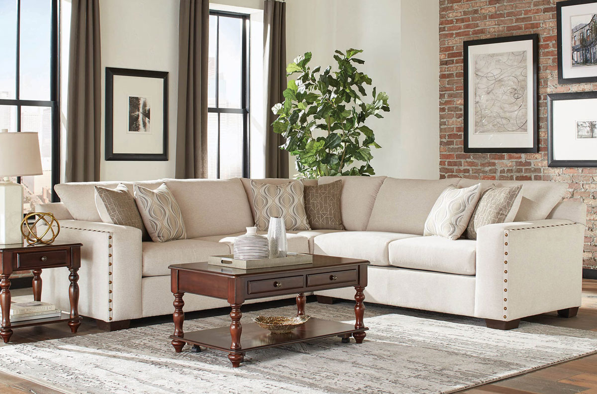 Emanuel Sectional With Gold Nailhead Trim