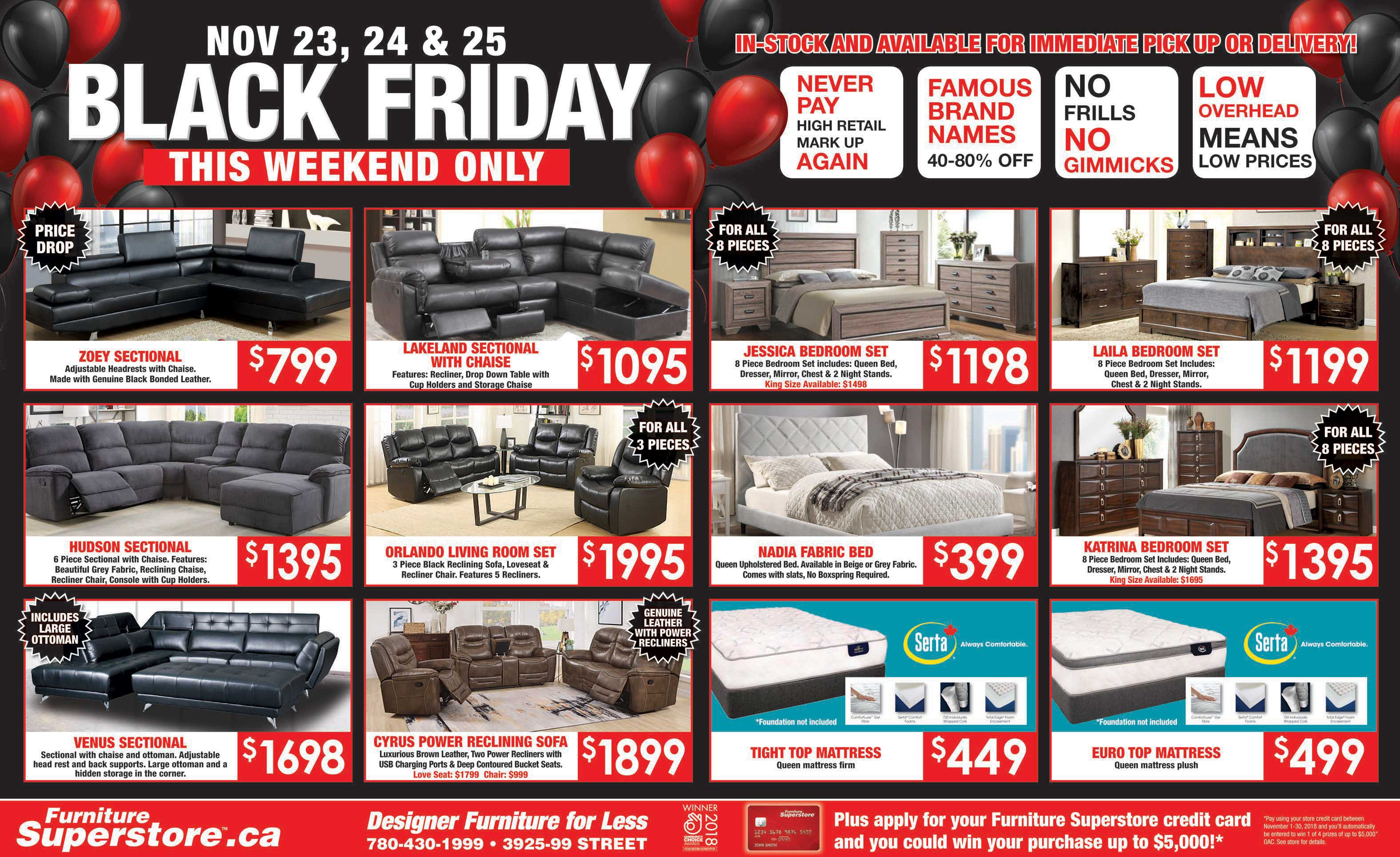 Canape Black Friday Flyer Furniture Superstore