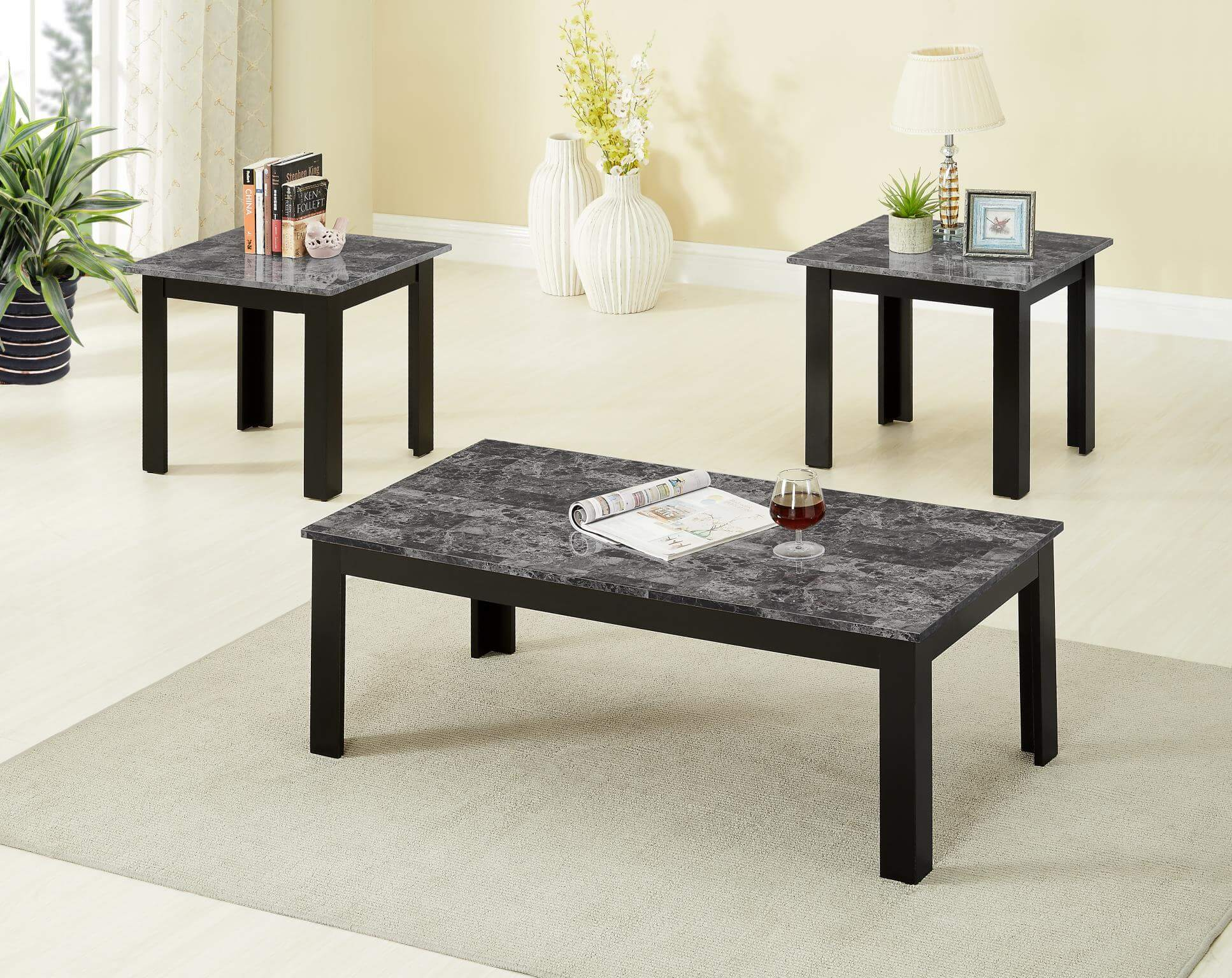 Black End Tables With Drawer 3306g 3 Piece Black Faux Marble Coffee And End Table Set By Global Trading