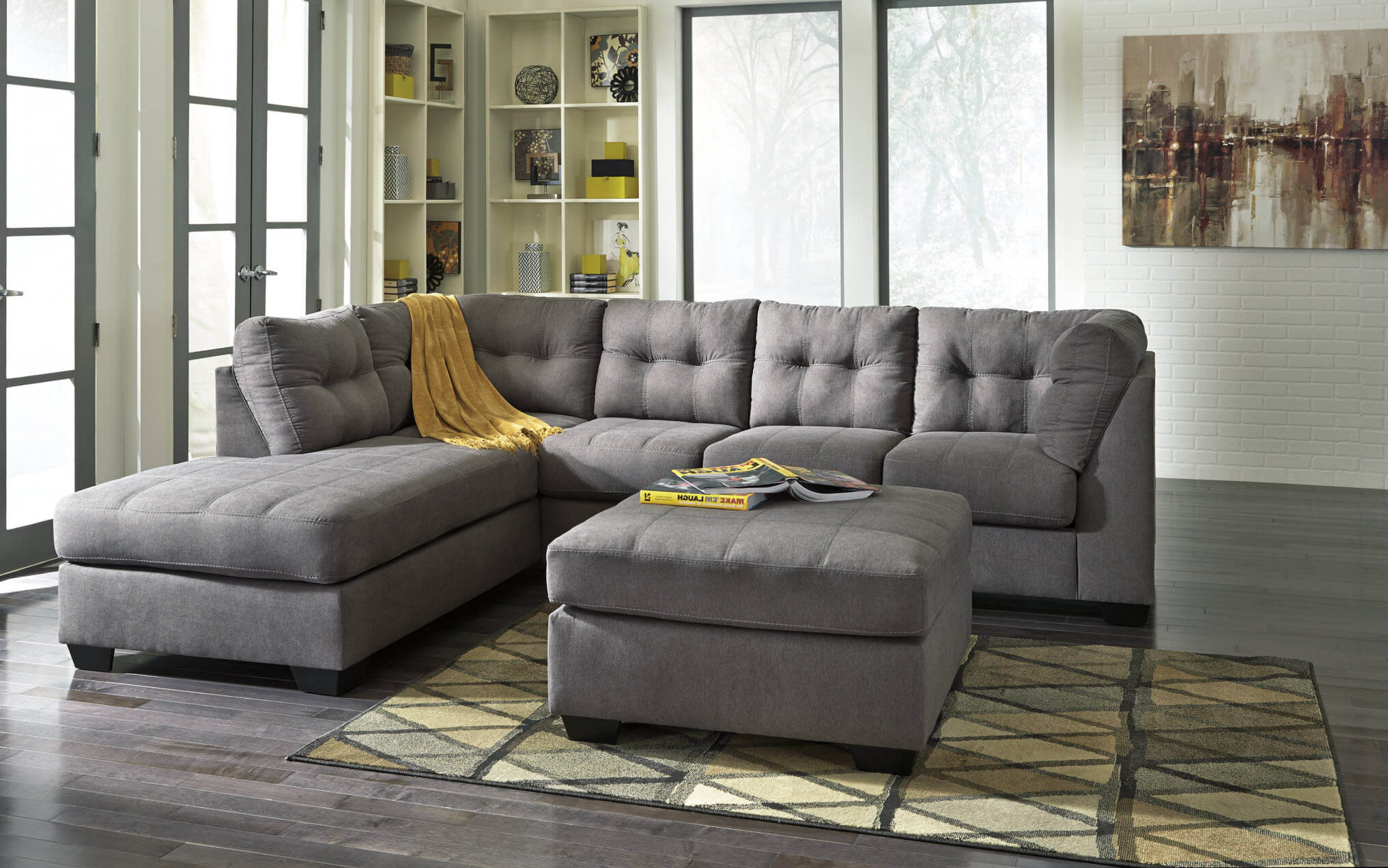 Living Room Sofas Sets 45200 Maier Charcoal Sectional