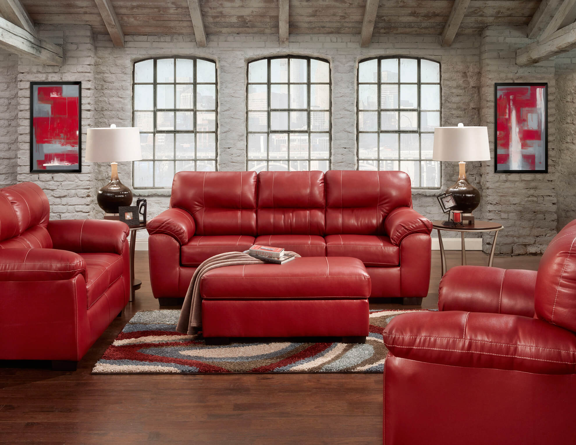 Leather Living Austin Red Sofa And Loveseat Leather Living Room Sets