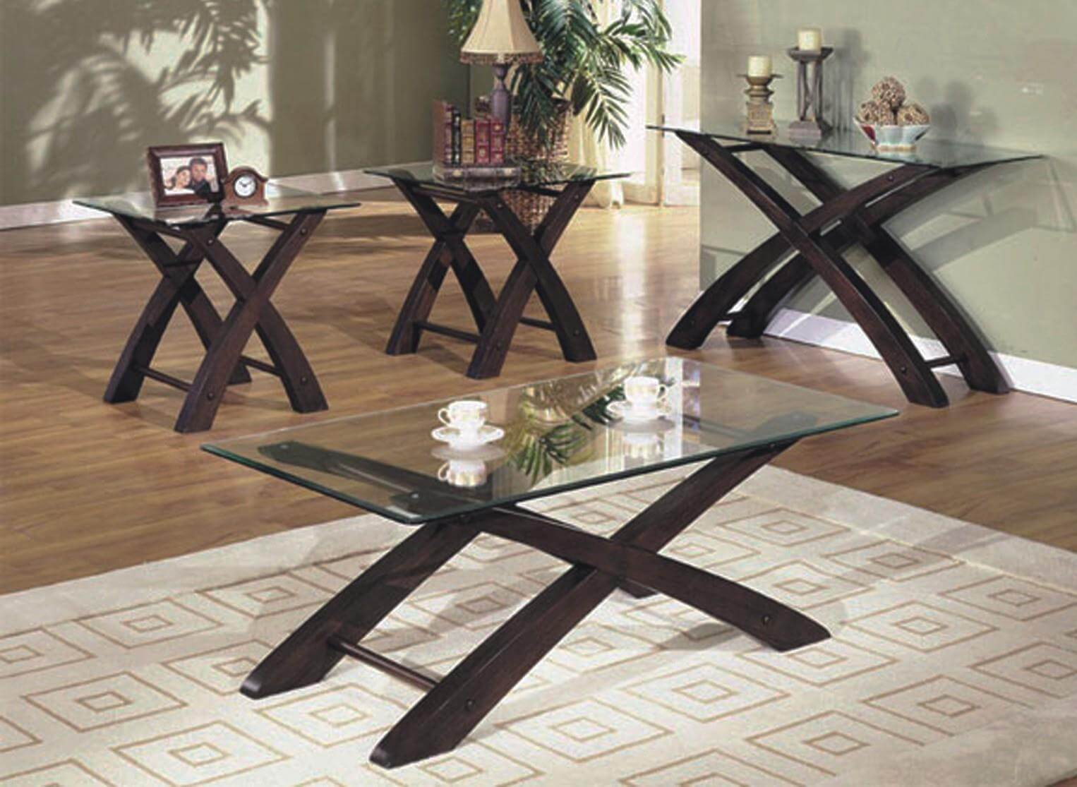 Glass End Tables Set Cherry And Glass Coffee End Table Set Occasional Tables