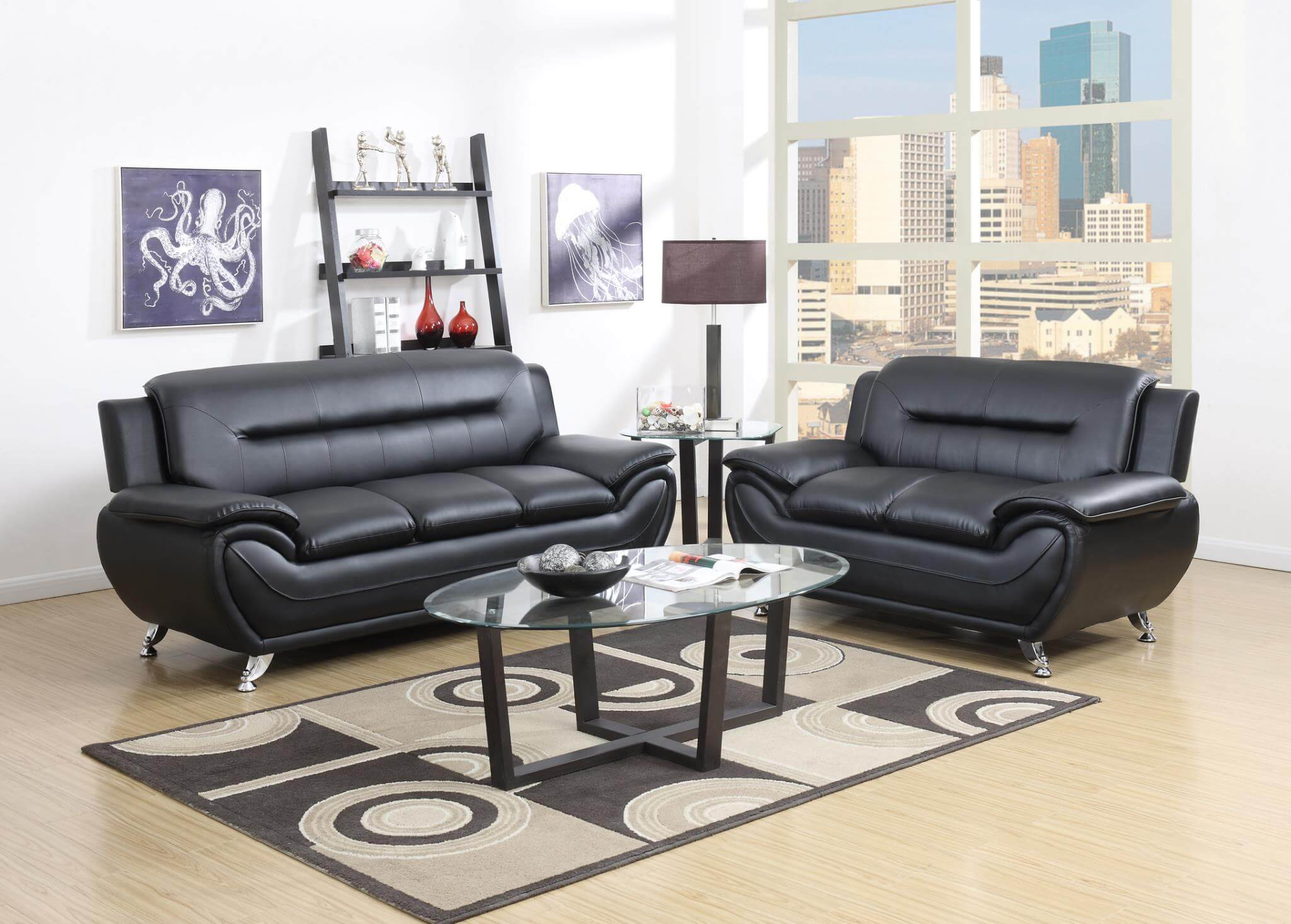 Living Room Sofas Sets 2701 Black Living Room Set