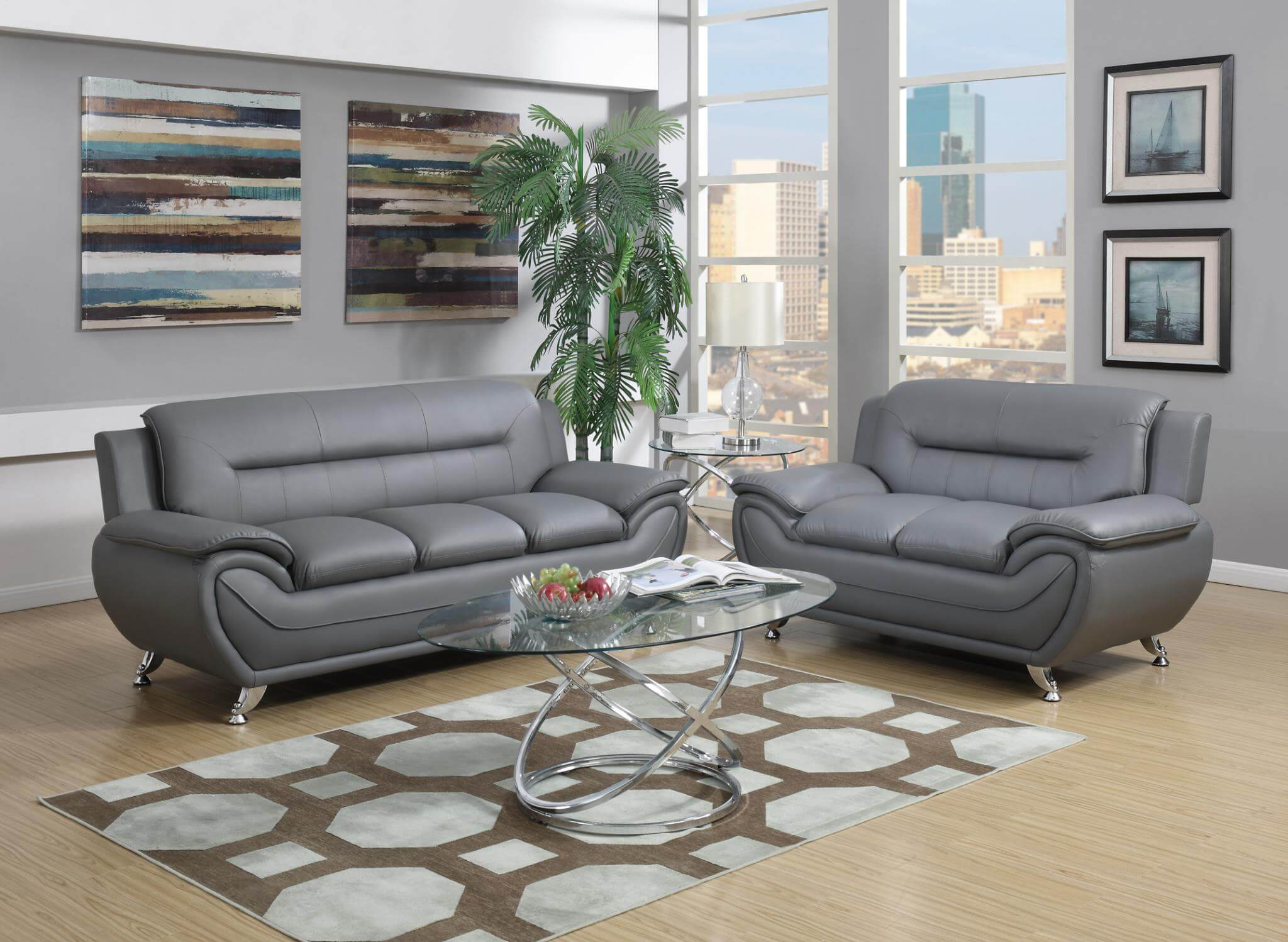 Contemporary Living Set 2702 Grey Contemporary Living Room Set