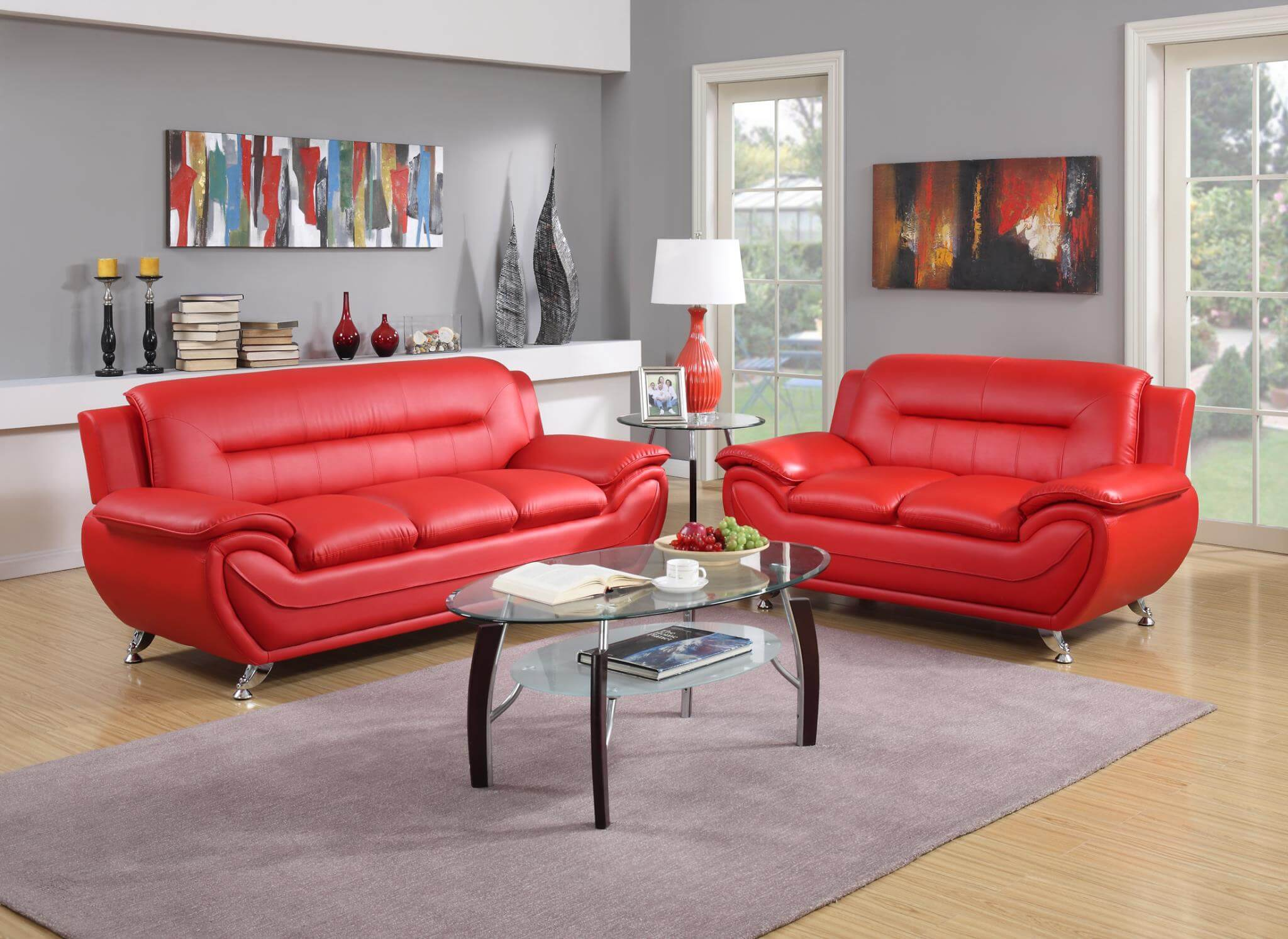 Contemporary Living Set Red Contemporary Living Room Set Leather Living Room Sets
