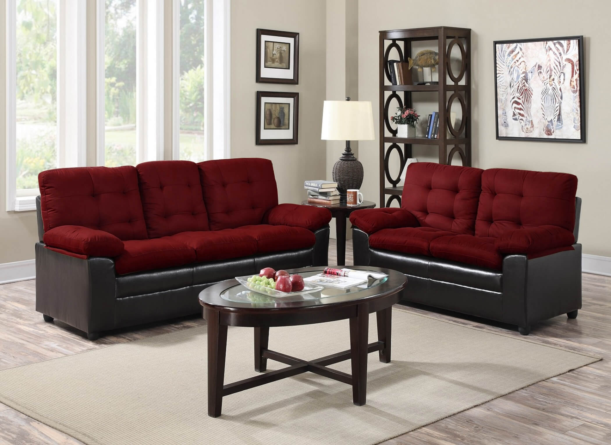Maroon And Grey Living Room Bay Ridge Cream Sofa And Loveseat