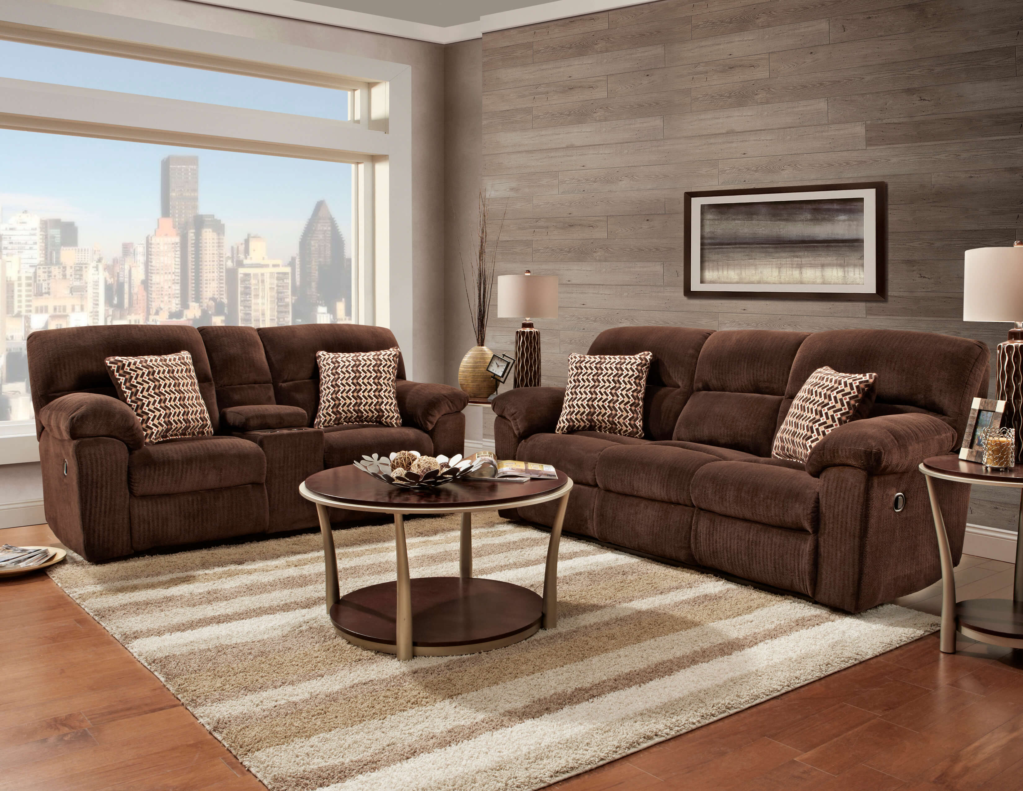 Brown Sofa And Loveseat Sets 1400 Chevron Mink Reclining Sofa And Loveseat Set