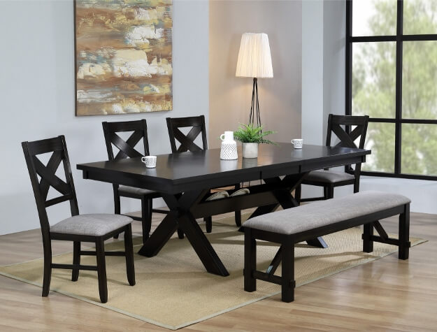 Sofa Fabric Leaf Havana Dining Set With Bench By Crown Mark